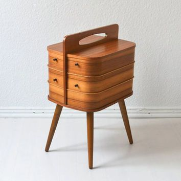 c705fb02e Vintage sewing basket sewing box coffee table bedside table jewelry box  nightstand Mid-Century Modern 60s