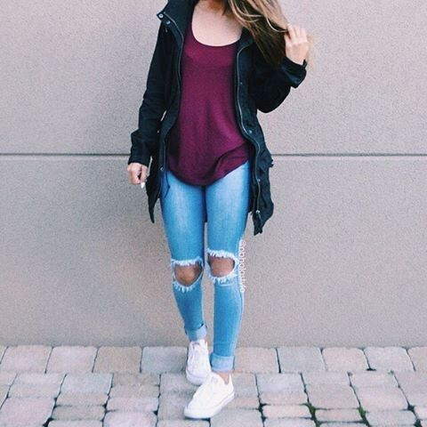 Converse Cute Jacket Jeans Outfit Ripped Style Teenager