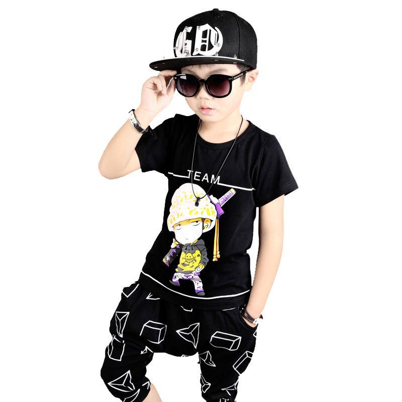 Boys clothes summer kids hip hop clothing Cotton t