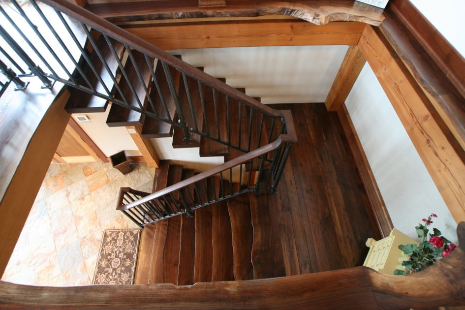 Best Custom Crafted Walnut Stairs Feature Live Edges And Appear 400 x 300