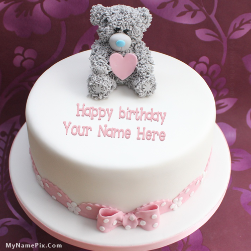 Online Write Your Name On Best Teddy Birthday Cake Picture