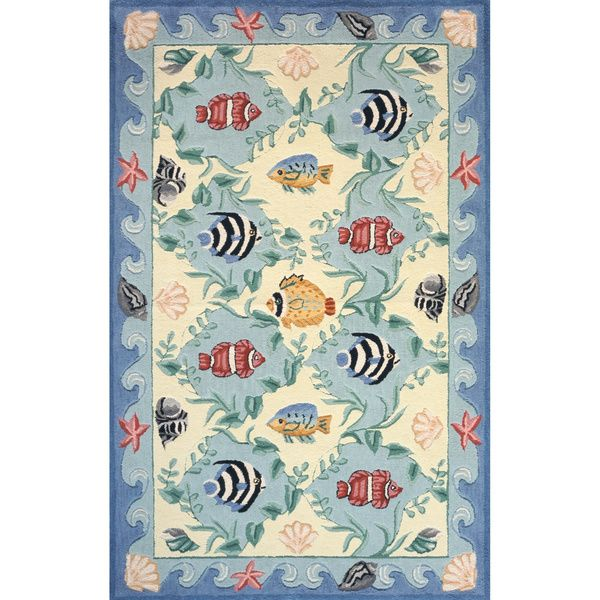 Ocean Blue Hand-hooked Cotton Rug (4' x 6'), $128.00