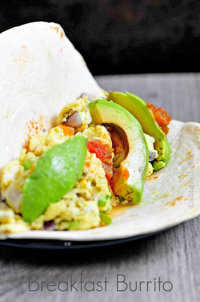 Egg and Avocado Breakfast Burritos.Ingredients      6 eggs;     1 tablespoon olive oil;     1 jalapeno pepper;     1 clove garlic;     4 flour tortillas;     ¼ cup salsa;     2 avocados.