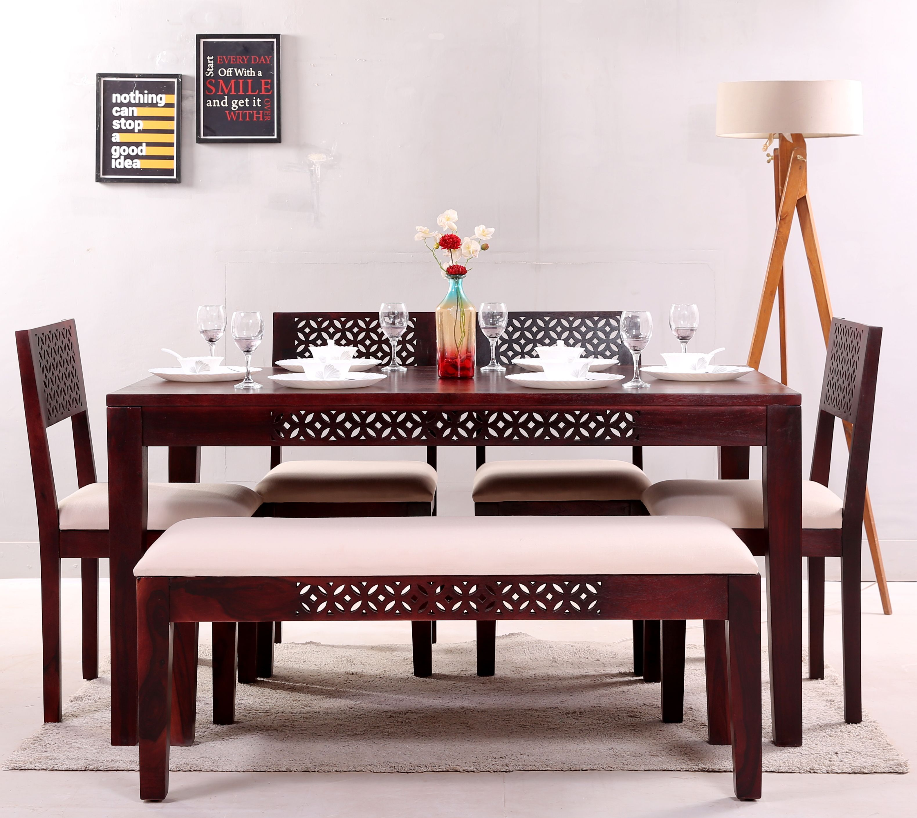 Buy Cambrey 6 Seater Cushioned Dining Set Honey Finish Online In