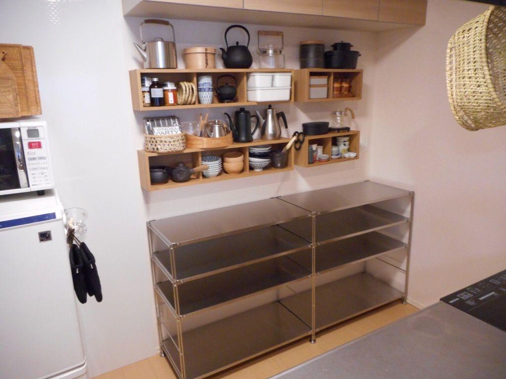 キッチン 無印のステンレスシェルフに収納完了 kiki 無印