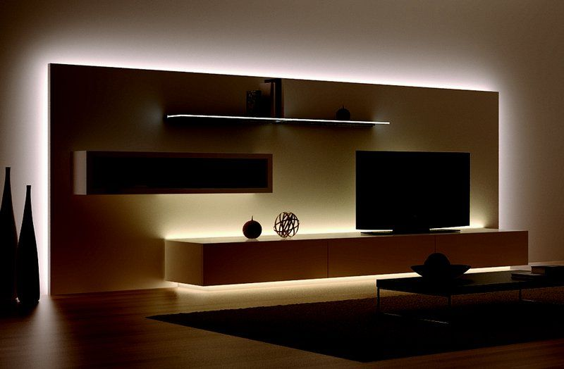 Strisce led bachelor pad living room room and
