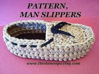 slippers, CROCHET PATTERN, number 173 MAN SLIPPERS, by Hectanooga.etsy.com…..in sizes Extra small, 10 inch sole, to Extra large,12 inch sole.From Hectanooga
