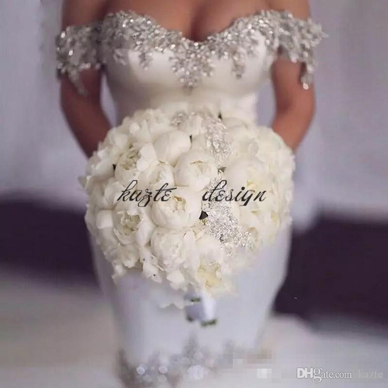 Bling Bling Mermaid Satin Wedding Dresses Crystal Beaded Slim