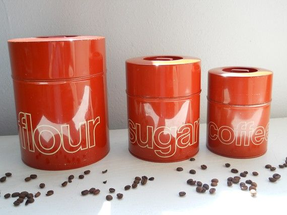 Burnt Orange Kitchen Canisters Set Of Three By Barnyardvintage