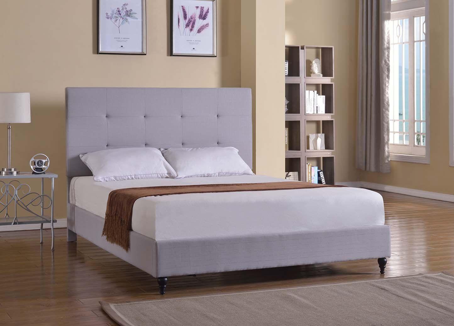 Robot Check Upholstered platform bed, Queen upholstered