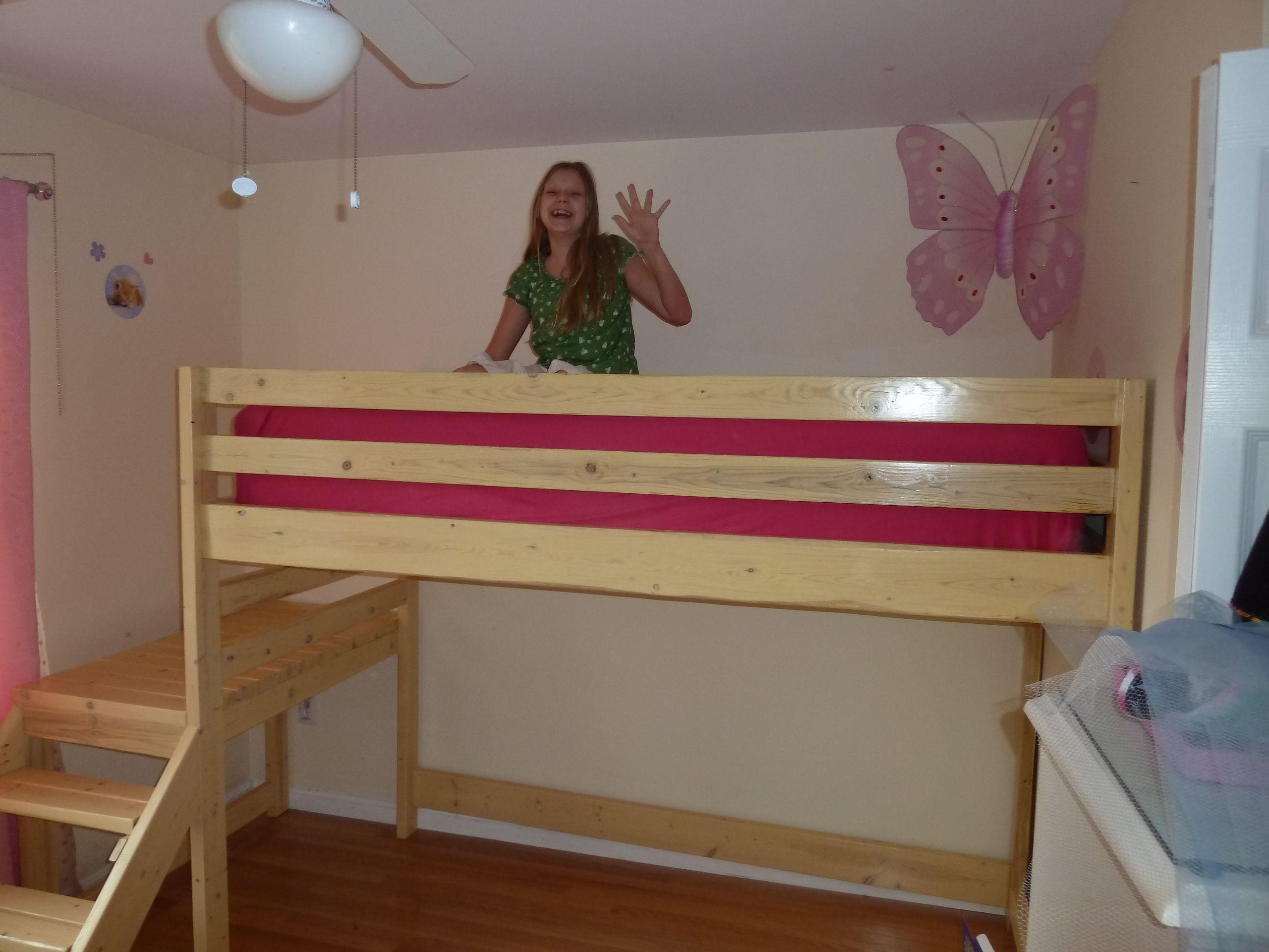 Ana White Camp Loft Bed twin XL w/ shelf DIY Projects