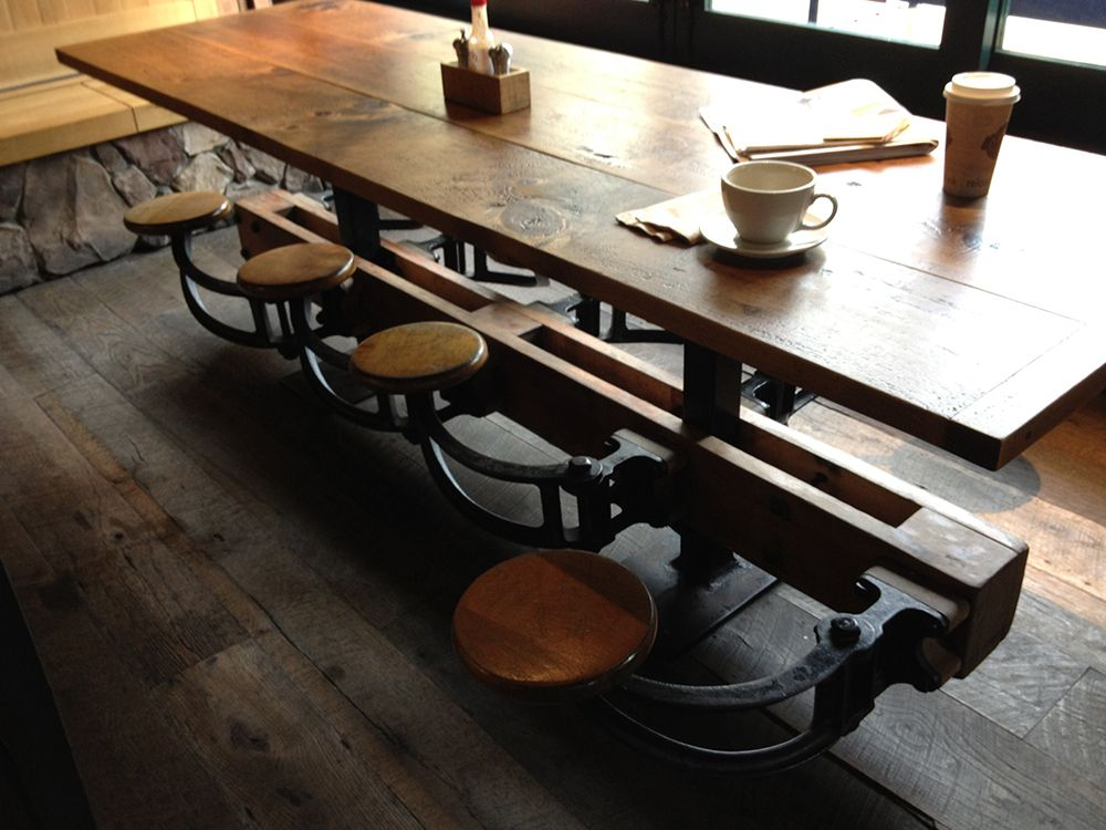 Perfect Coffee Shop Mutli Seating Bar Style Table With Swivel Seats. Reclaimed Wood  And Cast Iron