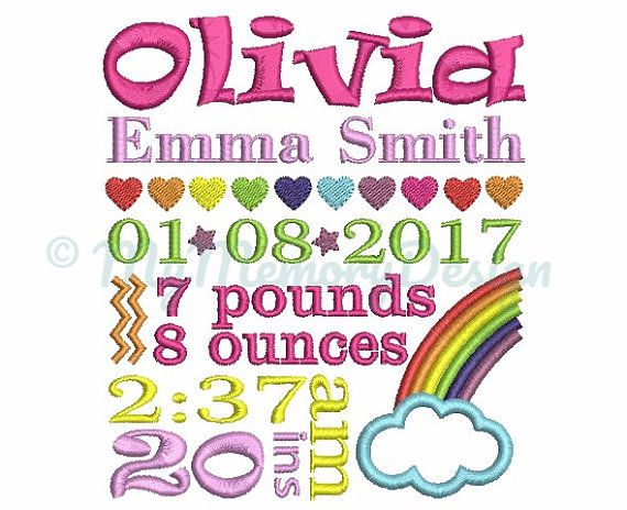 rainbow girl baby birth announcement template embroidery design