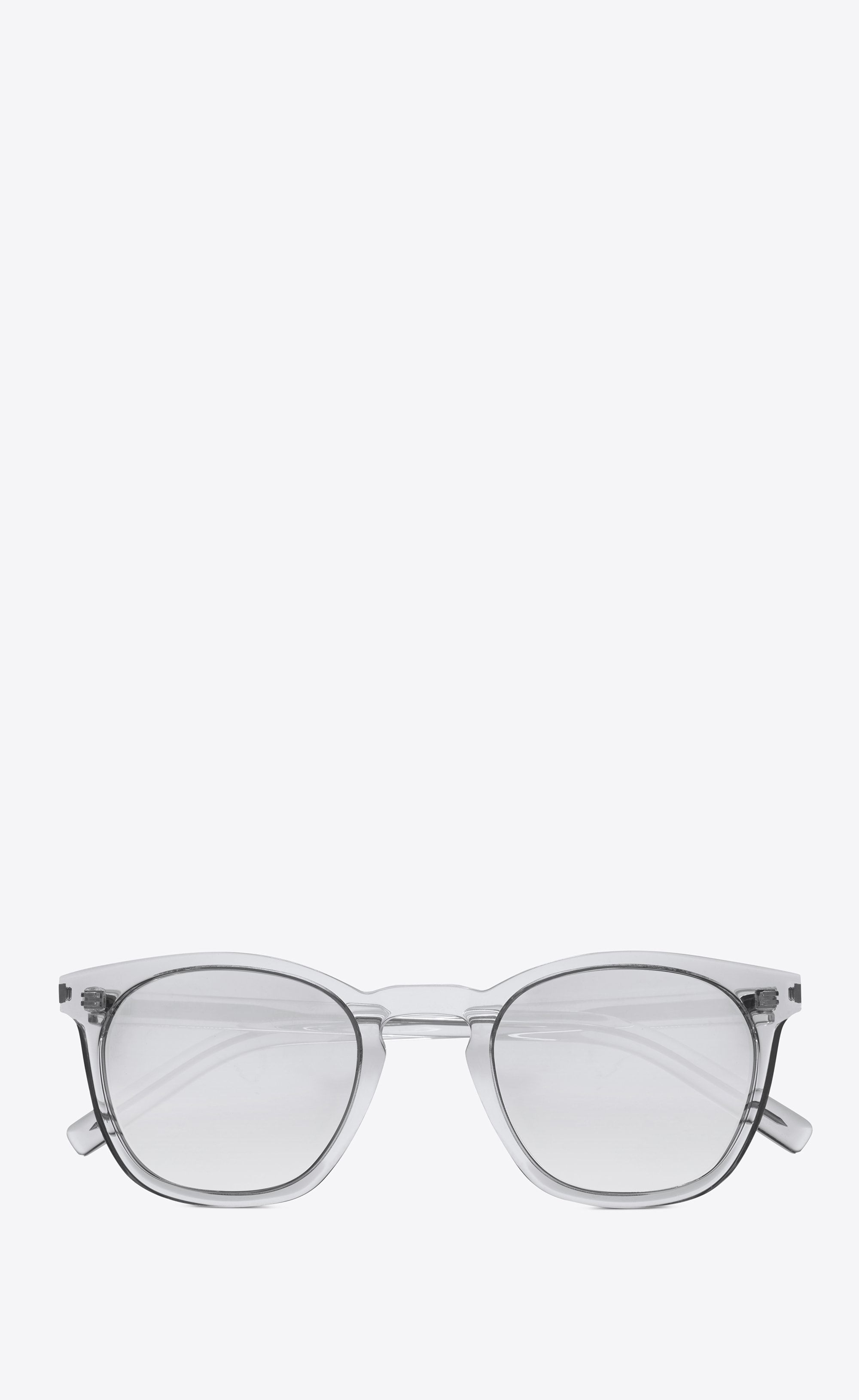 68d911fa43f03 Saint Laurent 28 Sunglasses In Clear Acetate With Light Silver Mirrored  Lenses