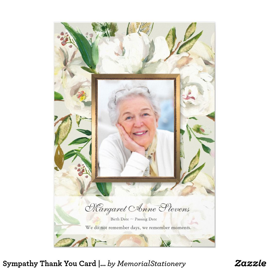 Pink Floral Funeral Thank You Card Template Memorial Service