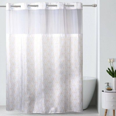 Prism Geometric Shower Curtain With Liner White Hookless