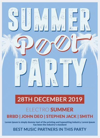 Summer Pool Party Invitation Design Template  Design Flyer
