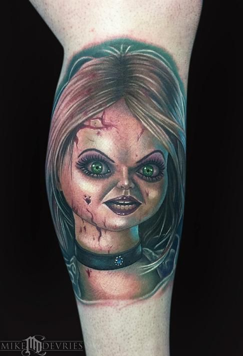Bride Of Chucky Tattoo By Mike Devries Tattoos Chucky Tattoo Bride Of Chucky Tiffany Tattoo