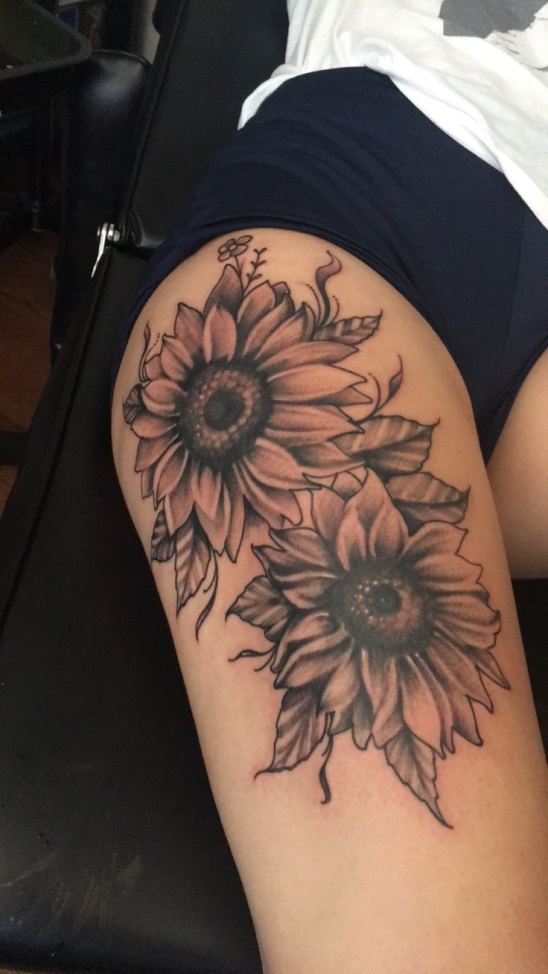 My Own Creation Of Sunflowers Theigh Tattoos Thigh Tattoos Women Sunflower Tattoo Thigh