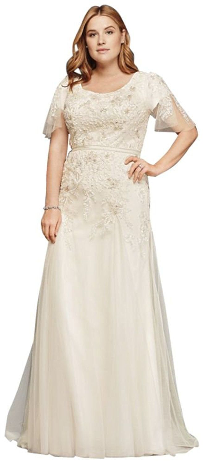 Net plus size modest wedding dress with floral lace style