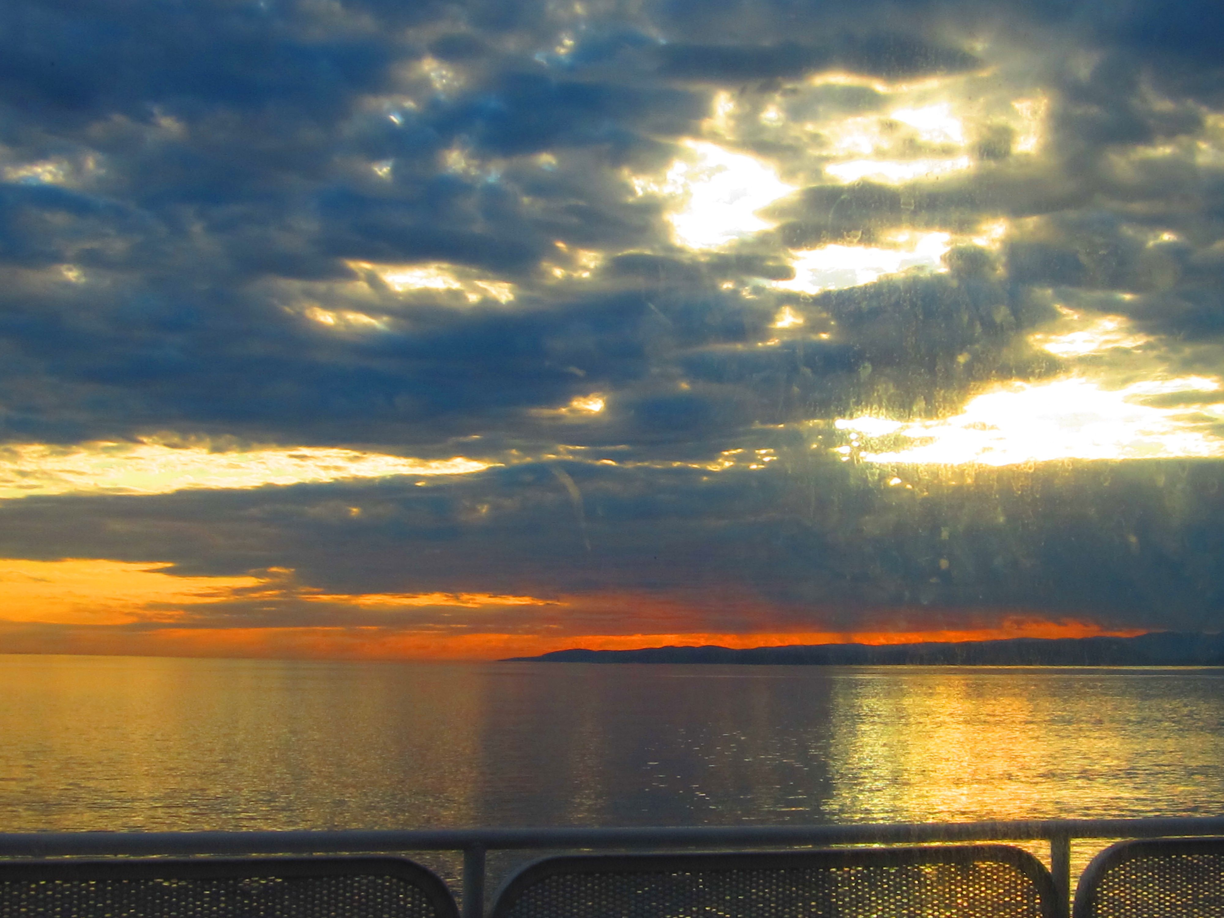 Sunset traveling via Ferry from Victoria, Canada to Port Angeles, WA