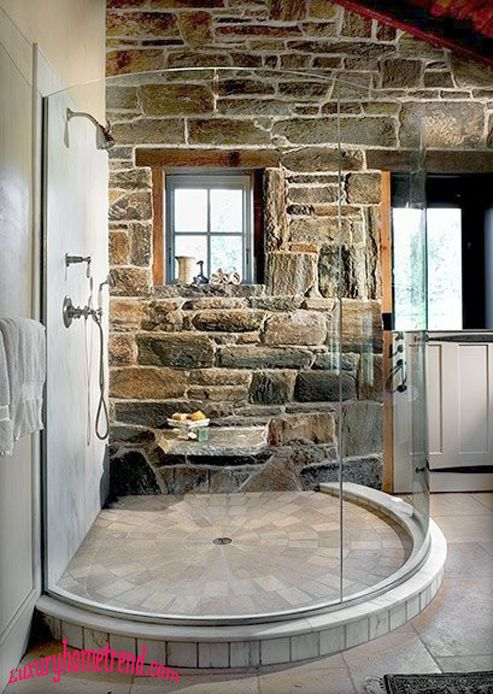 Beautiful shower idea with natural stone! House styles