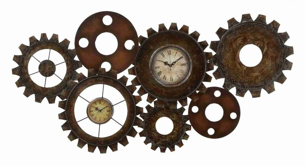 Roman Numeral Wall Clock Gears Sprockets Metal Art Large