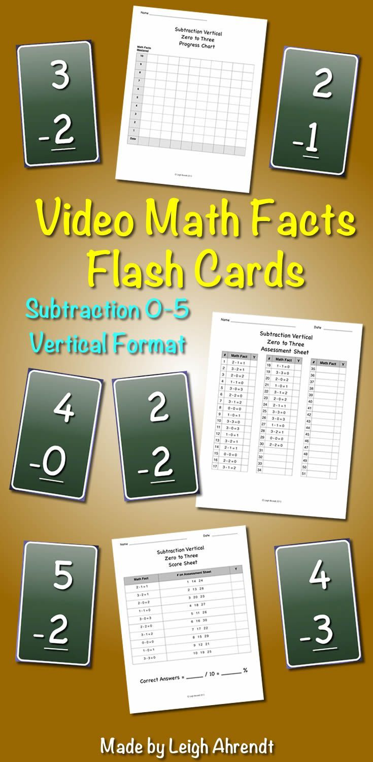 Video Math Facts Flash Cards - 0 to 5 (Subtraction) ( Vertical ...