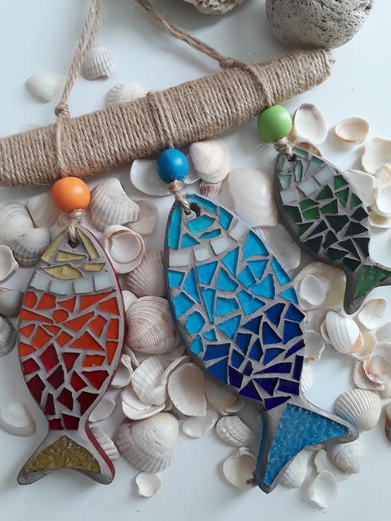 Mosaic Fish Beach Decor, Wall Art Mosaic, Colorful Wall Art, Mosaic Wall Art, Beach Decor for Summer, Modern Decor, Sea Mosaic Decor