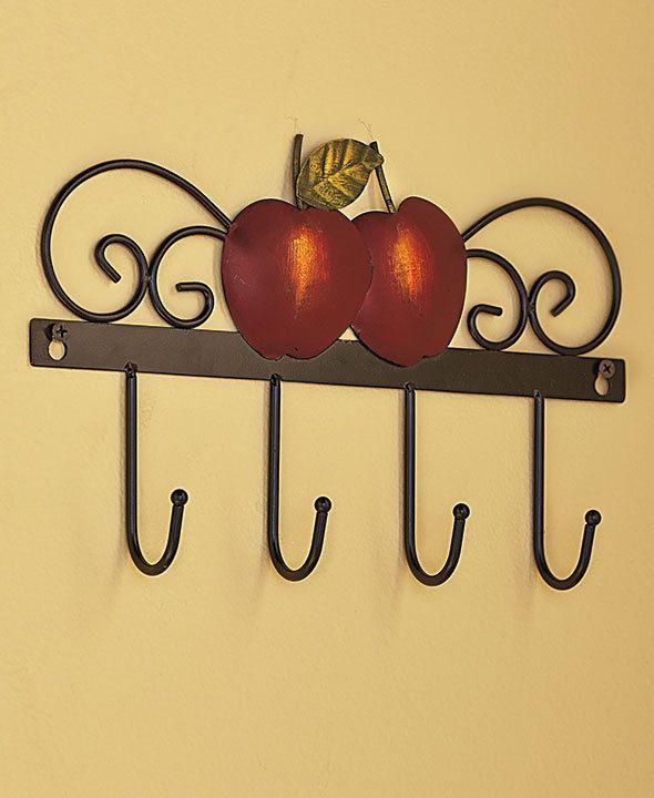 APPLE Wall Hooks COUNTRY Kitchen Decor 4 HOOKS FOR POT HOLDER OR ...