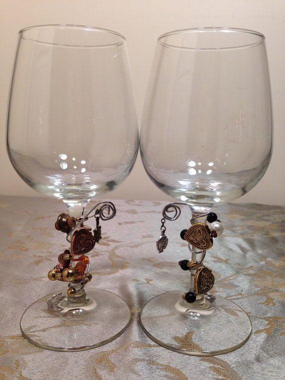 2Pc Hearts Charmed Wine Glass Stem Jewelry  by GemStemWineGlass, $20.00 (REDUCED)