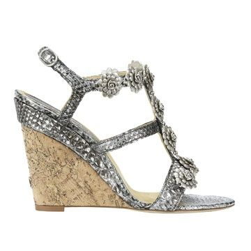 Chanel Chanel silver wedge sandals