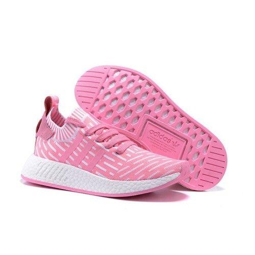 brand new a00ed 9ac3d Adidas NMD Boost Salg - Adidas Dame Adidas NMD R2 Rosa Hvite Løpesko  Vintersko Tilbud