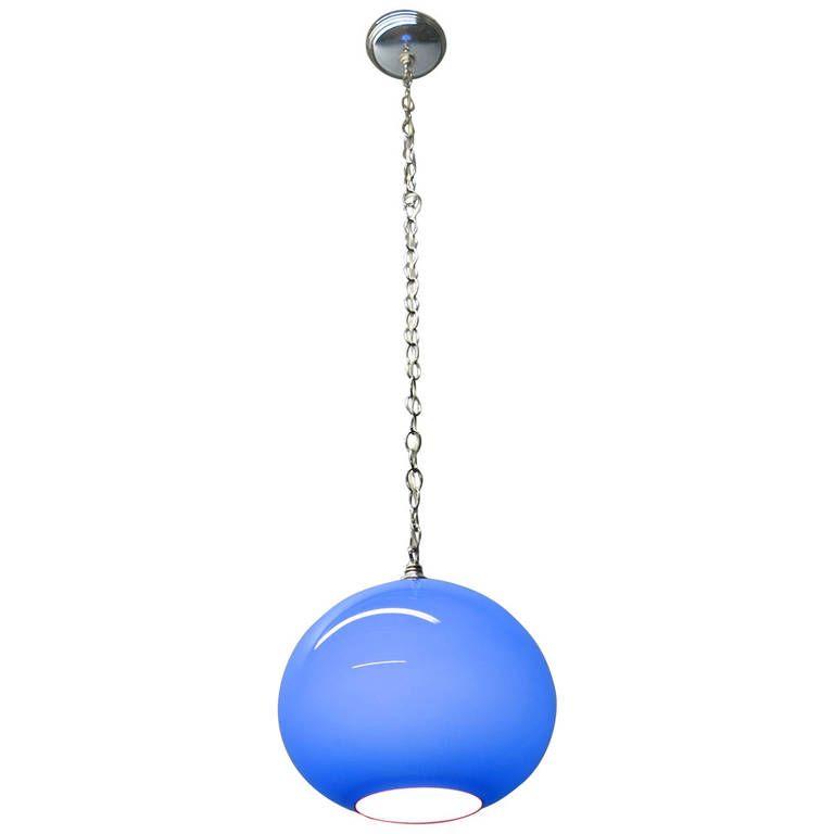 Vintage Goblet Shaped Glass Ceiling Pendant Light On A Long Chain Ceiling Pendant Chandelier Pendant Lights Modern Chandelier