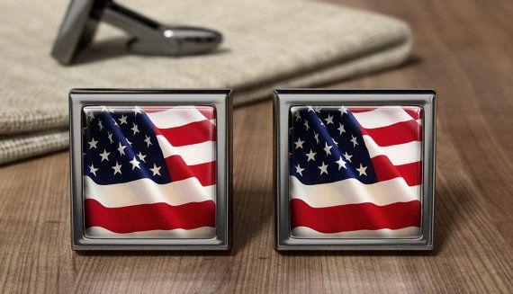 American Old Glory Flag Cufflinks - USA Flag Cuff Link - Patriotic American Gifts - Wedding Cufflinks - Birthday Present - Gift For Dad