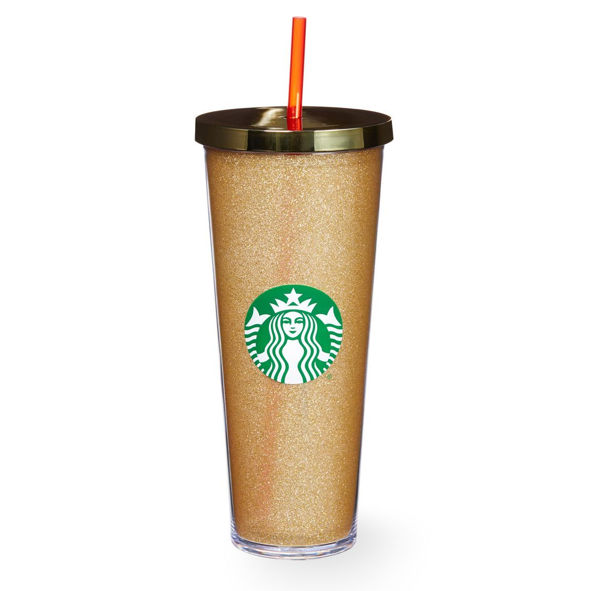 A Sturdy, Venti-size Plastic Cold Cup Covered With Gold