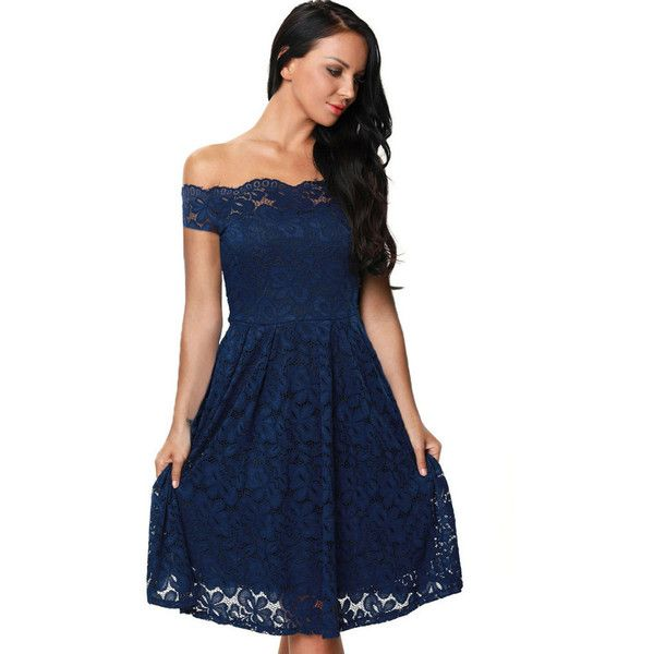 Dark Blue Short Strappless Dresses