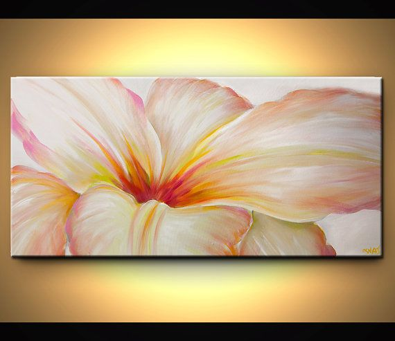 ORIGINAL Abstract Floral Painting Contemporary Acrylic Wild Blooming White Flower on White background  by Osnat on Etsy, $450.00
