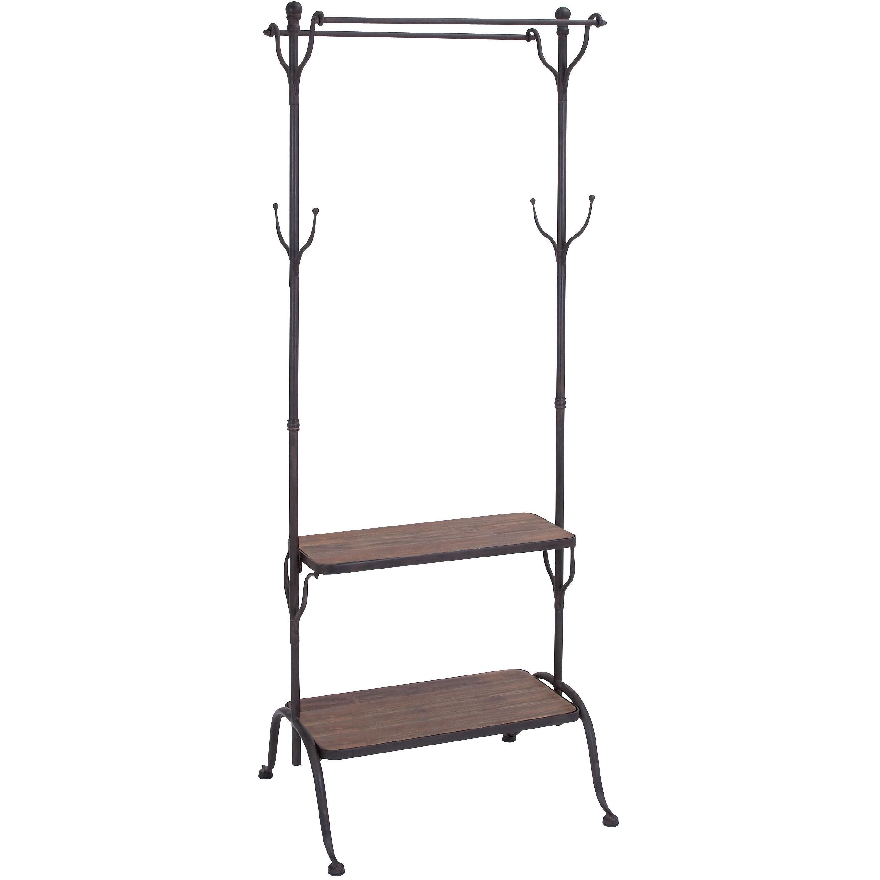 Clothing rack with multiple hooks and shelves products pinterest
