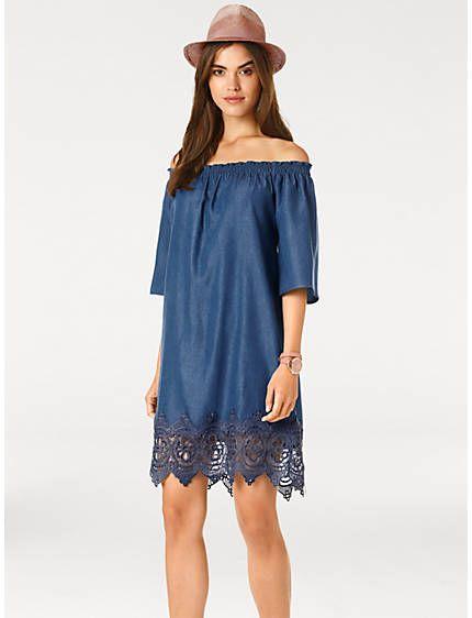 1941970d09f23c Linea Tesini by heine - Jeanskleid mit Carmenausschnitt blue denim im Heine  Online-Shop kaufen