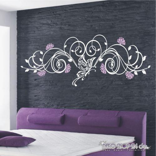 wandtattoo blumen ranke 2 farbig blumenranke schmetterling motiv 322 xl wandtattoo. Black Bedroom Furniture Sets. Home Design Ideas