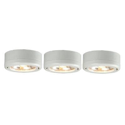 Commercial Electric 3 Light White Under Cabinet Puck Kit
