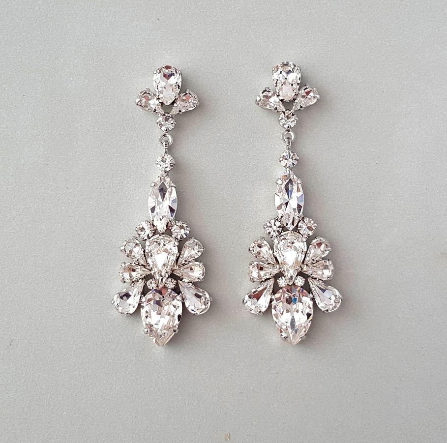 Teardrop Chandelier Swarovski Crystal Earrings  Tastefully Dazzling,