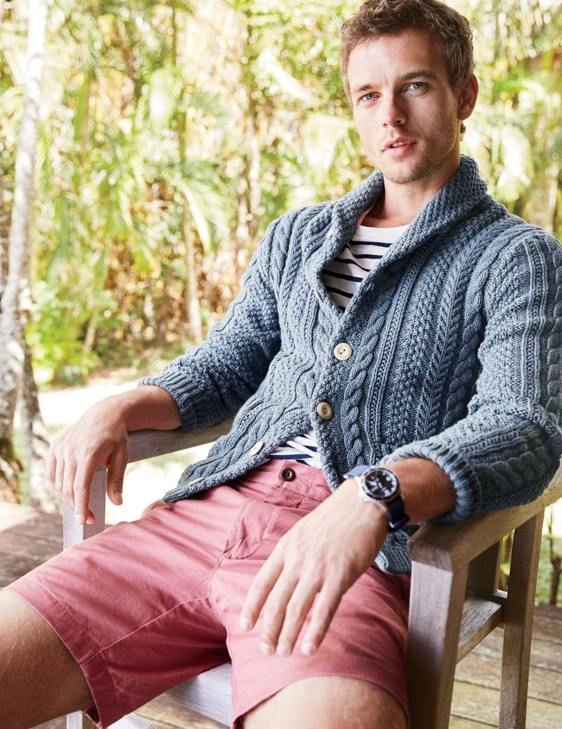J.Crew men's cotton cable cardigan sweater, deck stripe T-shirt, 9 ...