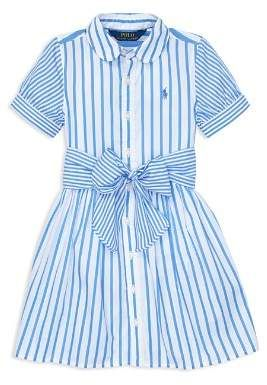 Polo Ralph Lauren Girls Mixed Stripe Fit And Flare Dress