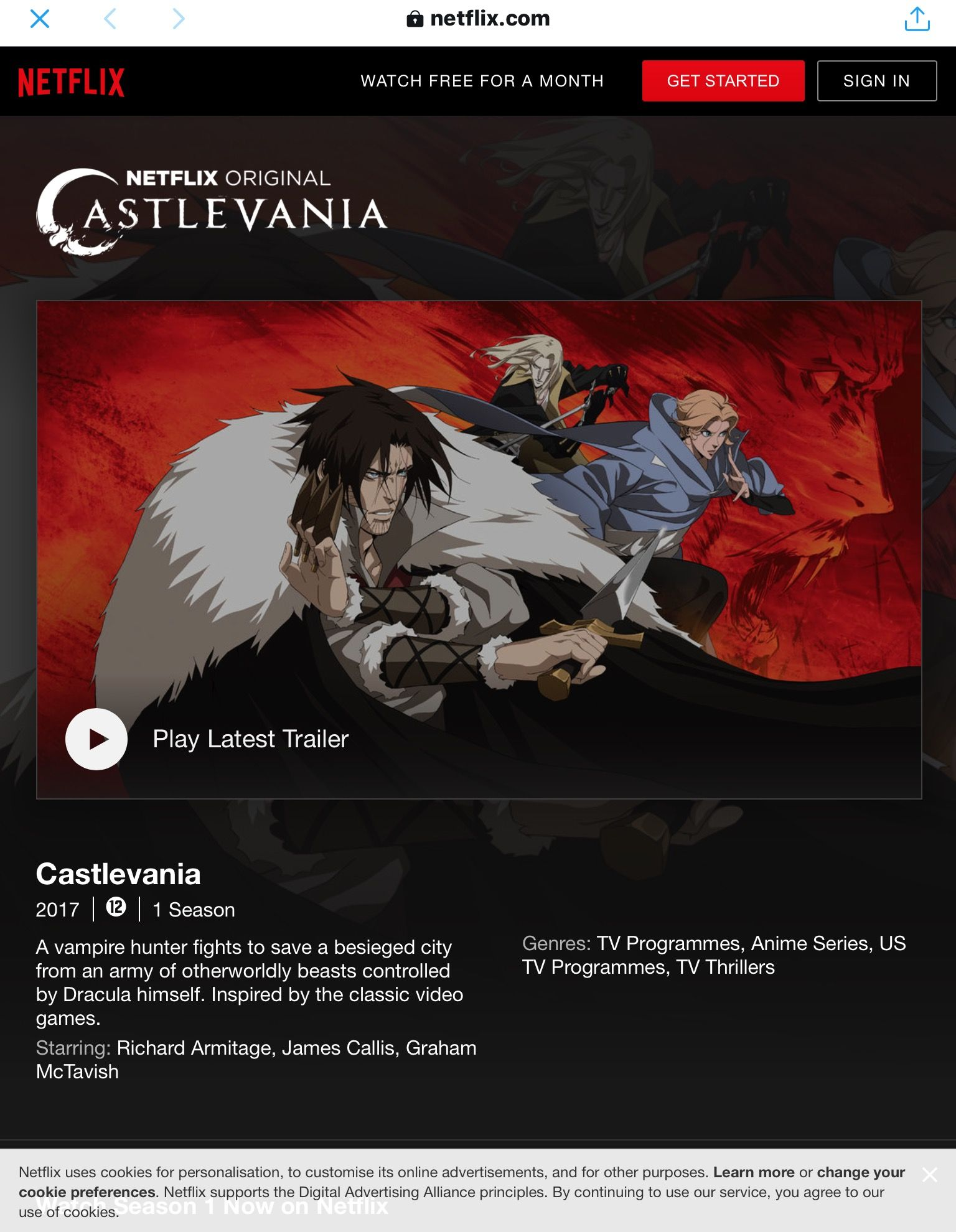 7-7-2017 premiere of Castlevania on Netflix | Castlevania
