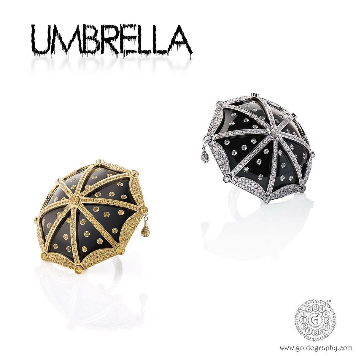 Umbrella! #Cantamessa, #Umbrella, #Rings, #18K, #Gold, #Diamonds, #Sapphires, #Onyx, #Jewelry, #Jewellery