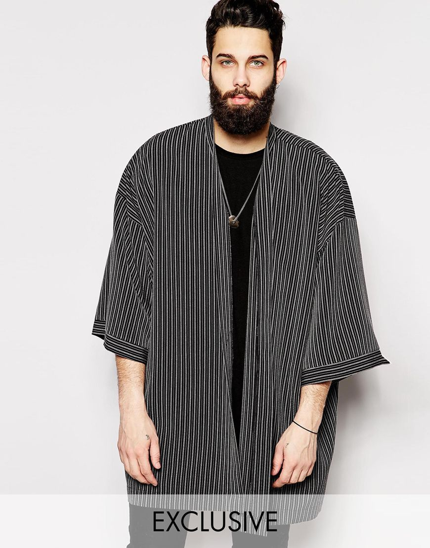 Reclaimed Vintage Kimono Jacket In Pinstripe at asos.com