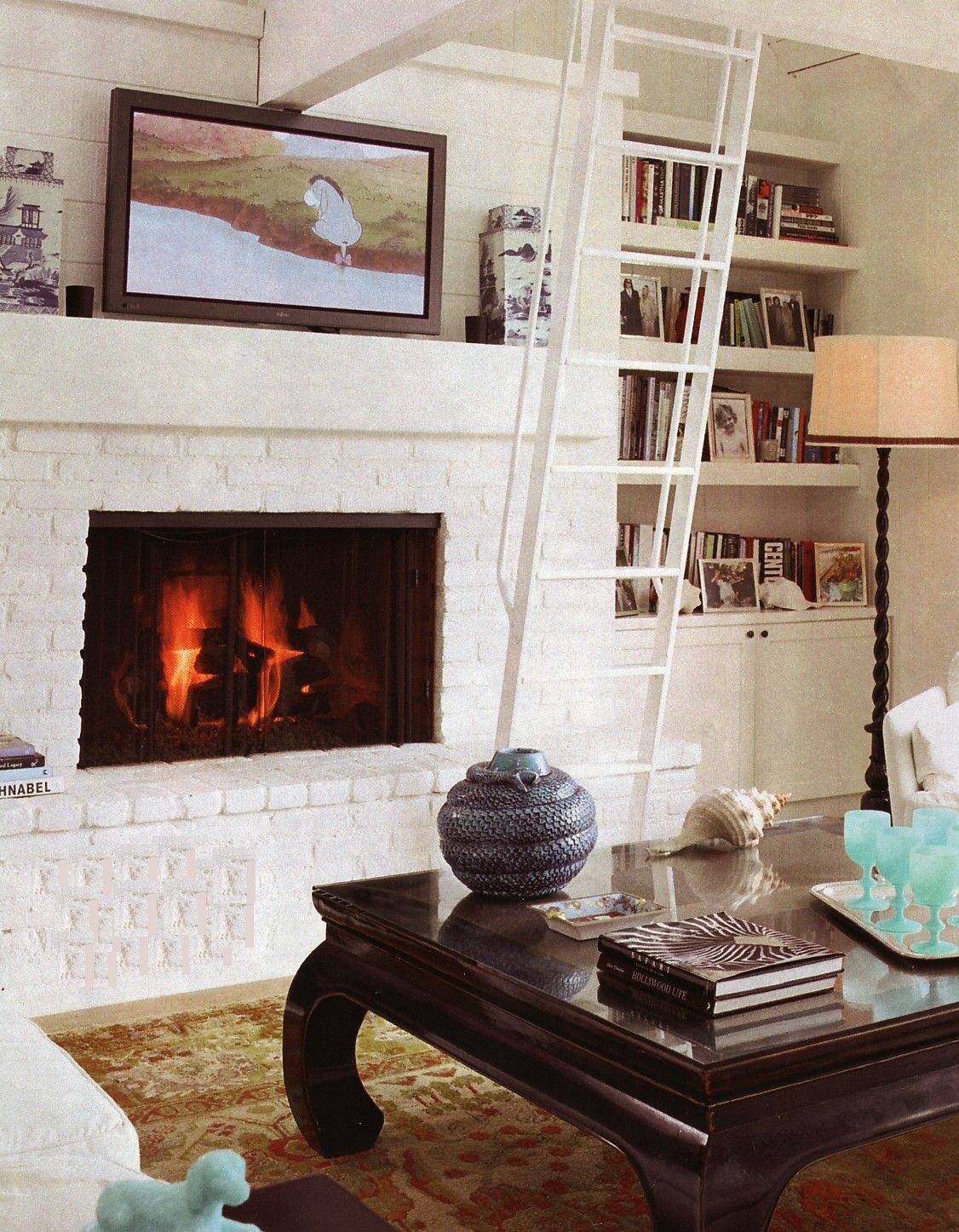 white brick fireplace, bookshelves | living room | pinterest