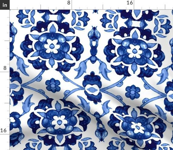 Floral Accent Pillow - Garland Of Flowers  by chicca_besso - Indigo Blue  Blue And White Leaves Rectangle Lumbar Throw Pillow by Spoonflower #garlandofflowers
